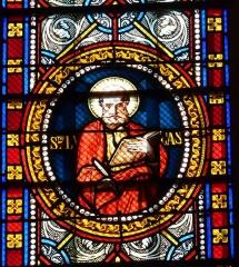 Eglise Saint-Germain de Rouffignac - Français:   Saint Luc, détail d\'un vitrail de l\'église Saint-Germain de Paris, Rouffignac-Saint-Cernin-de-Reilhac, Dordogne, France.