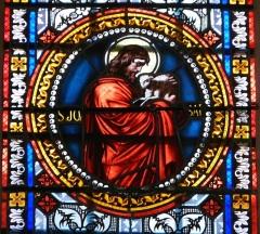 Eglise Saint-Germain de Rouffignac - Français:   Saint Jean Baptiste, détail d\'un vitrail de l\'église Saint-Germain de Paris, Rouffignac-Saint-Cernin-de-Reilhac, Dordogne, France.