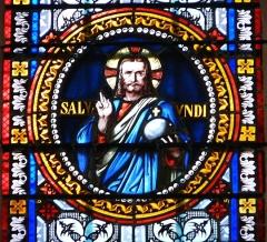 Eglise Saint-Germain de Rouffignac - Français:   Jésus, Salvator mundi, détail d\'un vitrail de l\'église Saint-Germain de Paris, Rouffignac-Saint-Cernin-de-Reilhac, Dordogne, France.