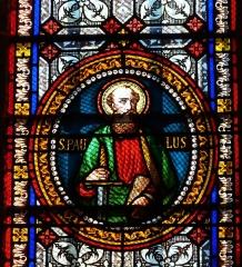 Eglise Saint-Germain de Rouffignac - Français:   Saint Paul, détail d\'un vitrail de l\'église Saint-Germain de Paris, Rouffignac-Saint-Cernin-de-Reilhac, Dordogne, France.