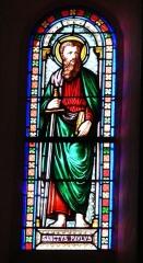 Eglise Saint-Ours - Français:   Vitrail du transept de l\'église Saint-Ours, Sainte-Orse, Dordogne, France. Représentation de saint Paul.