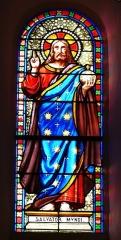 Eglise Saint-Ours - Français:   Vitrail du transept de l\'église Saint-Ours, Sainte-Orse, Dordogne, France. Représentation de Jésus.