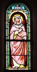 Eglise Saint-Ours - Français:   Vitrail du transept de l\'église Saint-Ours, Sainte-Orse, Dordogne, France. Représentation de sainte Anne.