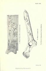 Gisement préhistorique de la Madeleine - English: A.—Human Figure, Horses and Serpent (?)(½)  B.—Horses in sequence (½)  Two Bâtons de Commandement from La Madeleine.   [To face p. 214.