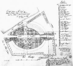Restes de l'amphithéatre dit Palais Gallien - Français:   Lotissement du Palais Gallien par la mairie de Bordeaux en 1793.