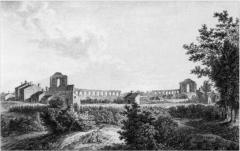 Restes de l'amphithéatre dit Palais Gallien - Français:   Ruines de l\'amphithéâtre en 1710 par Alix vues du côté du chemin de la Trésorerie. Photographie archives municipales de Bordeaux XIX.