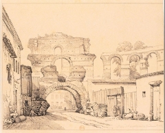 Restes de l'amphithéatre dit Palais Gallien - French etcher and painter