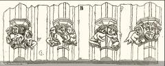 Eglise Saint-Romain - Français:   Budos église naissance des archivoltes portail (Drouyn 1847)