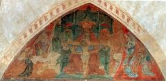 Ancienne église prieurale - Français:   Mimizan Clocher-porche Fresques-Trône de grâce