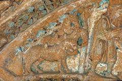 Ancienne église prieurale - Français:   Mimizan Clocher-porche Tympan Chevaux