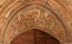 Ancienne église prieurale - Français:   Mimizan Clocher-porche Tympan