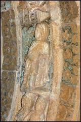 Ancienne église prieurale - Français:   Mimizan Clocher-porche voussure 1 claveau 6