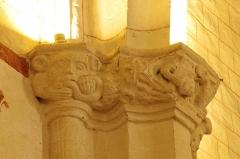 Eglise Saint-Girons - Français:   Visage et serpent, chapiteau bas côté nord