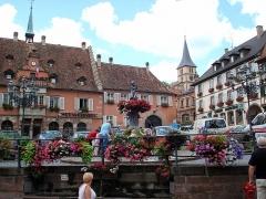 Hôtel de ville -  Barr, comm. du dép. du Bas-Rhin, France (région Alsace). Place de l'Hôtel de ville, angle nord-ouest, avec fontaine et façade de l'hôtel de ville (gauche).