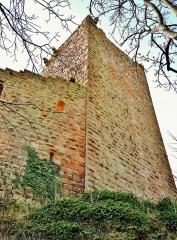 Vestiges du château de Landsberg - Français:   Donjon et muraille est du château duu Landsberg, vus de l\'extérieur. Heiligenstein. Bas-Rhin
