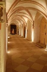 Ancienne chartreuse - Vue du cloître, intérieur, photo prise de nuit.