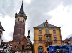 Hôtel de ville - Deutsch: Kapellturm und Rathaus, Obernai, Elsass, Frankreich