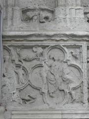 Cathédrale Saint-André - Portail sud de la cathédrale métropolitaine Saint-André de Bordeaux (33). Ébrasment gauche. Frise de quadrilobes. Détail