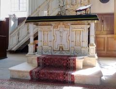 Eglise protestante Sainte-Aurélie - Français:   Autel-armoire à colonnettes tournées (1669) de l\'église Sainte-Aurélie de Strasbourg