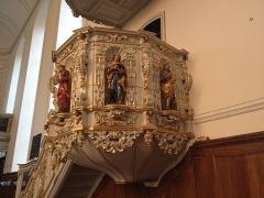 Eglise protestante Sainte-Aurélie - English: Polychrome Baroque pulpit of St Aurelia Church, Strasbourg