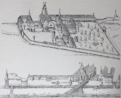 Eglise catholique Saint-Jean-Baptiste -  Alsace, Bas-Rhin, Vues historiques de Strasbourg, Ancienne Commanderie de Saint-Jean de Jérusalem, Gravure du XVIIe