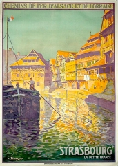 Maison des Tanneurs - English: Poster created by Lucien Blumer for the Railroad Company of Alsace and Lorraine. The view represents the Petite France, in Strasbourg.