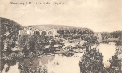Parc de l'Orangerie - English: Artificial lake of Parc de l'Orangerie in Strasbourg with former restaurant (built in 1895, demolished in 1961) (postcard)