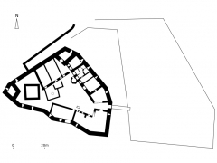 Ruines du château Wangenbourg - English: Map of the castle of Wandenbourg, France