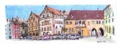 Ancien corps de garde ou ancienne maison de police -  croquis artpen sur le vif, couleurs crayon de retour. Colmar, ma ville natale, est l'une des plus belles villes de France, méritant largement l'appelation de