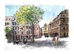 Maison -  une ébauche faite sur place, coloriage à l'hôtel /  draft on location, wash back to the hotel