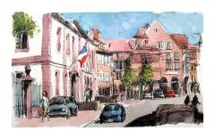 Ancien palais du Conseil Souverain d'Alsace, actuel Tribunal de Grande Instance -  croquis bic et aquarelle d'après photo /  bic and wash sketch after a personal photo