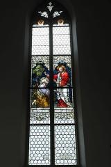 Eglise catholique Saint-Bernard-de-Menthon - Deutsch: Kirche Saint-Bernard de Menthon in Ferrette (Pfirt) im Département Haut-Rhin (Elsass/Frankreich), Bleiglasfenster von den Gebrüdern Ott (Ott Frères), von 1913, Darstellung: Schlüsselübergabe an Petrus
