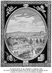 Immeubles entourant le square de la Bourse - Français:   Vue du chemin de fer Mulhouse-Thann en 1839 à Dornach.