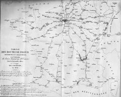 Immeubles entourant le square de la Bourse - Français:   Carte des chemins de fer et des malle-postes de France en 1838.