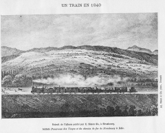 Immeubles entourant le square de la Bourse - Français:   Un train en 1840 sur le chemin de fer de Strasbourg à Bâle.