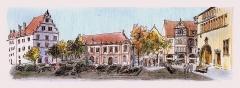 Maison dite Maison Kern -  croquis artpen sur place et crayons de couleurs au retour  / artpen sketch on location and pencil coloring at home.  La place du marché aux fruits est l'une des plus belles de la vieille ville, avec son Ancienne Douane (à droite) son tribunal (au centre) et de belles maisons renaissance.