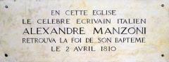 Eglise Saint-Roch - Italiano: Lapide nella chiesa di San Rocco (Parigi) a ricordo di Alessandro Manzoni