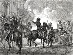 Eglise Saint-Roch -  Bonaparte fait tirer à mitraille sur les sectionnaires. Le 13 vendémiaire an IV (5 octobre 1795), le général Bonaparte fait tirer sur les insurgés royalistes, sur les marches de l'Eglise Saint-Roch à Paris.