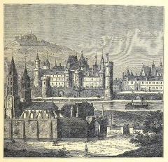 Enceinte de Philippe-Auguste - English: View of the Louvre from the left bank at the beginning of the 16th century.