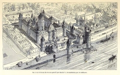 Enceinte de Philippe-Auguste - English: Bird's eye view of the Louvre enlarged by the King of France Charles V.