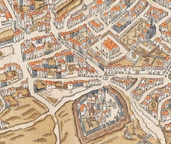 Enceinte de Philippe-Auguste - English: Detail from the 1550 Truschet & Hoyau map of Paris showing part of the Left Bank of the Seine with the Abbey of Saint-Germain-des-Prés (lower half just to the right of center), the Foire Saint-Germain (above and more to the right), the Église Saint-Sulpice (upper right corner), and the old city wall with two gates (upper left corner)