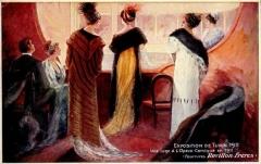 Théâtre de l'Opéra-Comique, dit salle Favart -  Exposition de Turin 1911. Une loge a l'Opéra Comique en 1911 (fourrures Revillon Frères), advertisement postcard for the Paris-based furriers Revillon Frères