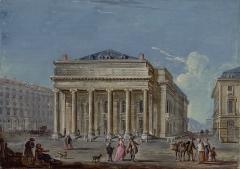 Théâtre de l'Opéra-Comique, dit salle Favart - Deutsch: Jean-Baptiste Lallemand (1716–1803): Der 1783 eingeweihte Neubau der Comédie-Italienne (Salle Favart I) in Paris. Gouache, 16,5 x 23,2 cm. Bibliothèque nationale de France.