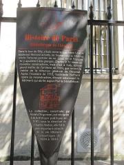 Pavillon de l'Arsenal, actuellement bibliothèque de l'Arsenal - Français:   Panneau Histoire de Paris «Bibliothèque de l\'Arsenal»
