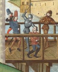 Pavillon de l'Arsenal, actuellement bibliothèque de l'Arsenal - Français:   Assassinat du duc Jean sans peur sur le pont de Montereau. Enluminure ornant la chronique d\'Enguerrand de Monstrelet, XVe siècle.