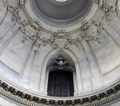 Temple du Marais ou temple Sainte-Marie (ancienne chapelle du couvent des filles de la Visitation dite église de la Visitation) - Temple du Marais situé rue Saint-Antoine (coupole central, détail) - Paris IV