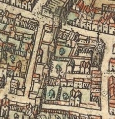 Monastère des Blancs-Manteaux - English: Eglise Notre-Dame-des-Blancs-Manteaux on the plan of Braun and Hogenberg (c.1530, published in 1572, edition of 1593).