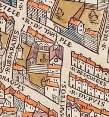Monastère des Blancs-Manteaux - English: Notre-Dame-des-Blancs-Manteaux church on the Plan de Truschet and Hoyau (1550).