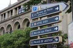 Théâtre de la Ville -  Theater and signs, Place du Châtelet, Paris.