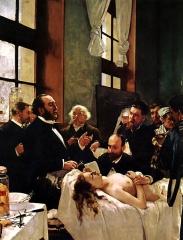 Hôpital Saint-Louis - English: Jules-Émile Péan and his surgery class before the operation H. Gervex pinx.